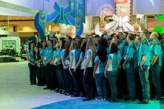 Hosteß und Stewart an E3 2012 Stockfotografie
