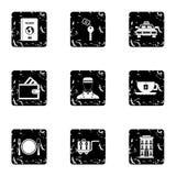 Hostel accommodation icons set, grunge style Stock Photos