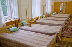 Hostel with beds Royalty Free Stock Photography