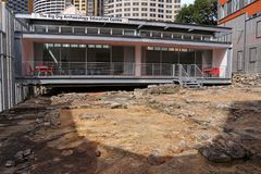 The Big Dig Archaeology Education Centre. The hostel and The Big Dig Archaeology Education Centre were officially opened in Sydney, Australia on the 7th April stock images