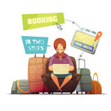 Hostel Booking Design Concept. With cartoon hipster busy online searching of guest house flat vector illustration Royalty Free Stock Photos
