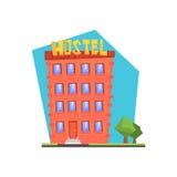 Hostel Building Flat Illustration Royalty Free Stock Photo