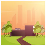 Hostel building. Guest house. Hotel building. Travel. Hostel building. Guest house. Hotel building Travel Royalty Free Stock Photo
