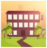 Hostel building. Guest house. Hotel building. Travel. Hostel building. Guest house. Hotel building Travel Stock Photo