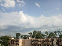 Hostel building view with beautiful sky. Hostel apartments in Silchar Assam stock photo