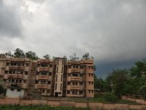 Hostel building view with beautiful sky. Hostel apartments in Silchar Assam royalty free stock photography