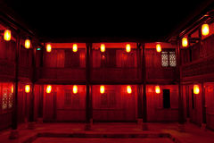 Hostel in China. It is a hostel in China at the day of Chinese Spring Festival, with red lanterns lighting all over night Royalty Free Stock Image