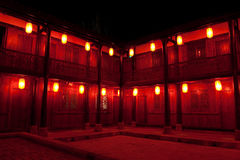 Hostel in China. It is a hostel in China at the day of Chinese Spring Festival, with red lanterns lighting all over night Stock Images