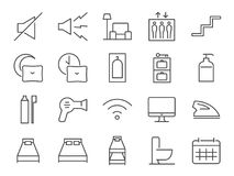 Hostel facilities icon set 2. Included the icons as bathroom, bed types, sleep, nap, lift, lobby, hotel, services and more stock illustration