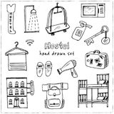 Hostel. Hand drawn doodle set. Sketches. Vector illustration for design and packages product. Hostel Hand drawn doodle set. Vector illustration. Isolated Royalty Free Stock Photos