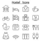 Hostel icon set in thin line style Stock Photo