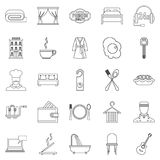 Hostel icons set, outline style. Hostel icons set. Outline set of 25 hostel vector icons for web isolated on white background Royalty Free Stock Photography