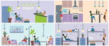 Hostel interior set. Reception, kitchen, lounge and bedroom. Vector illustration. Royalty Free Stock Image