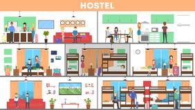 Hostel interior set. Stock Photos
