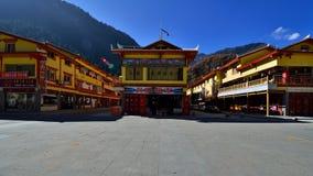 The hostel in Jiuzhaigou. The name jiuzhaigou refers to the 9 tibetan villages that are situated in the valley Royalty Free Stock Photos