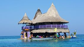 A hostel in the middle of the sea. Near the San Bernardos Island, Colombia Stock Photography