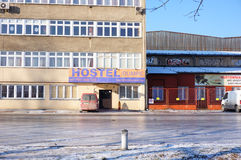 Hostel with parking lot Royalty Free Stock Image