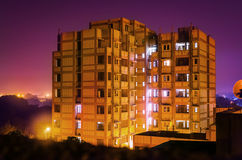 Hostel or residence building at night Stock Photos