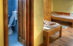 Hostel Room with Bathroom Stock Photos