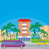 Hostel in the seaside town Stock Photo
