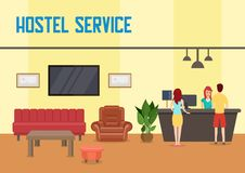 Hostel Service. Vector Flat Illustration. vector illustration