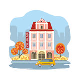 Hostel and taxi Royalty Free Stock Image