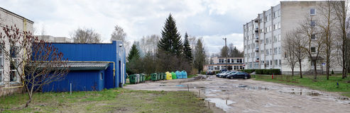 Hostel and trash cans of agricultural faculty of the Vilnius Co Stock Photo
