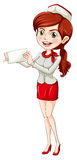 Hostess. Illustration of an air hostess with paper on a white background Royalty Free Stock Images