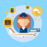 Hostess Airport Crew Icon Immagine Stock Libera da Diritti
