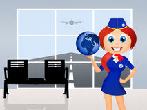 Hostess in airport. Illustration of hostess in airport Stock Photography