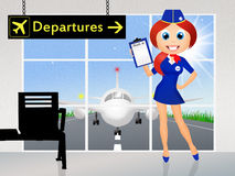 Hostess in airport Stock Photography