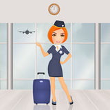 Hostess in the airport Stock Photography