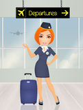 Hostess in the airport. Illustration of hostess in the airport Stock Photography