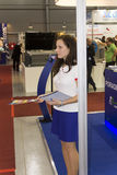 Hostess at AquaTherm 2012 in Prague Stock Images