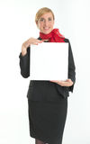 Hostess with blank board Stock Photography