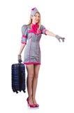 Hostess con la cassa isolata su bianco Fotografie Stock Libere da Diritti