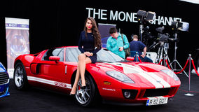 Hostess. With Ford GT at AutoMotoShow royalty free stock images