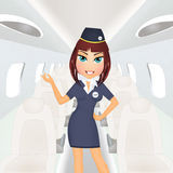 Hostess girl in the airplane Royalty Free Stock Photo