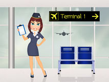 Hostess girl in the airport. Illustration of hostess girl in the airport Royalty Free Stock Images