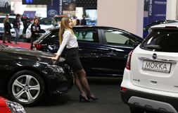 Hostess girl at SIAB 2018, Romexpo, Bucharest, Romania. The international automobile saloon in Bucharest, Opel stand Stock Photography