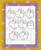 The hostess in the happy chicken coop for eggs smiling - coloring page Royalty Free Stock Photo