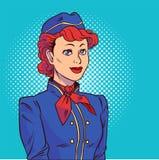 Hostess nello stile di Pop art Benvenuto a bordo Illustrazione di vettore nello stile comico illustrazione vettoriale