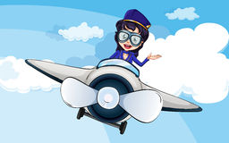A hostess on a plane. Illustration of a hostess on a plane Royalty Free Stock Images