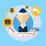 Hostess senior Airport Crew Icon Fotografie Stock