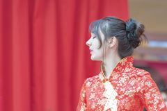 Chinese New Year 2019 - hostess portrait. Hostess servicing during the Chinese new year celebration in the city hall premise celebrating the Chinese new year royalty free stock photos