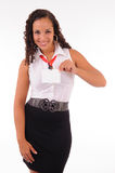 Hostess showing her badge Stock Photo