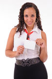 Hostess showing her badge Stock Photography