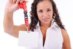 Hostess showing her badge Royalty Free Stock Images