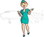 Hostess in uniforme del blu Fotografia Stock