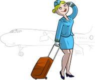 Hostess in uniforme del blu Fotografie Stock